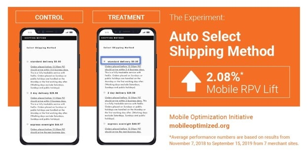 Mobile ecommerce Funnel - mobile cart experiment - Auto Select Shipping